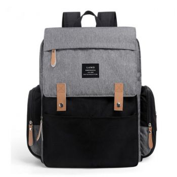 Mochila maternal New Land Gris con Negro